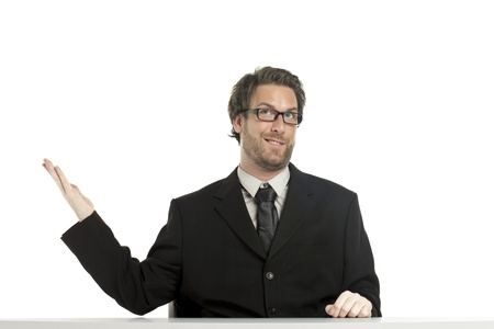 Smart looking businessman gesturing his right hand and doing an expression Stock Photo - 17135057