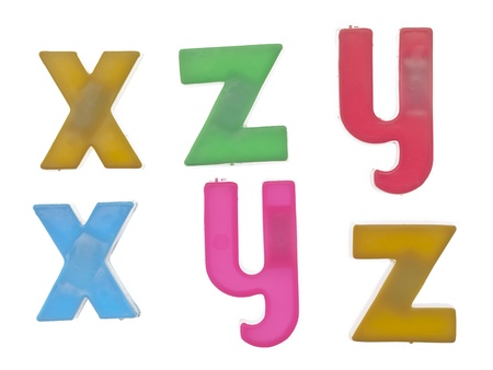 xyz: Lowercase letters x, y and z Stock Photo