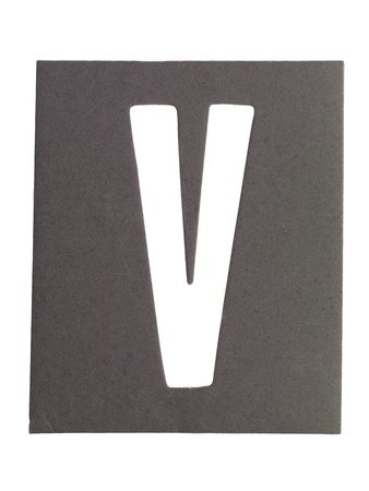 Gray cardboard with cut out letter V photo