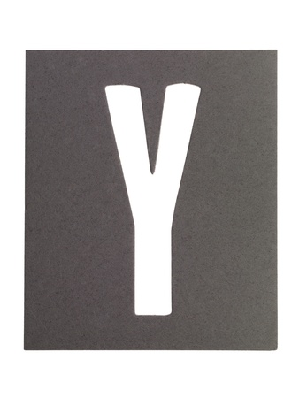 Gray cardboard with cut out letter Y photo