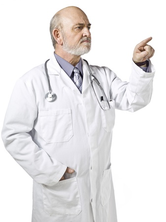 Close-up image of a male doctor wearing a white medical suit pointing to the side