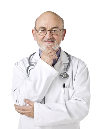Portrait of medical doctor holding his chin isolated in a white background Foto de archivo