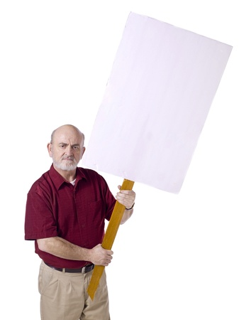 protesting: Image of old man with white protest banner against white background