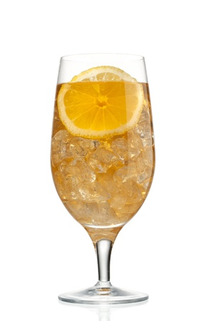 Close-up shot of orange slice and juice with ice in glass. Stock Photo - 17135052