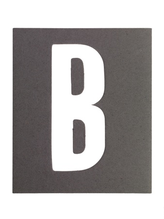 cut paper: Image of paper cut out letter B against white background