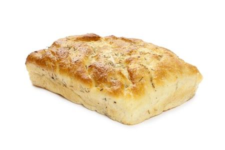 bread loaf: Isolato l'immagine di pagnotta di pane forma quadrata con semi di sesamo scuro sdraiato su uno sfondo bianco Archivio Fotografico