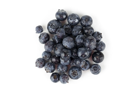 Overhead image of group of blueberries isolated on a white background Zdjęcie Seryjne - 17142296