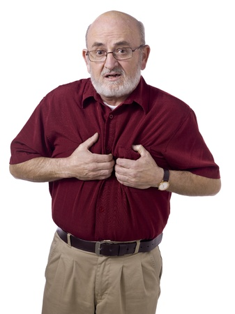 Close-up image of a male senior wearing casual having a heart attack photo