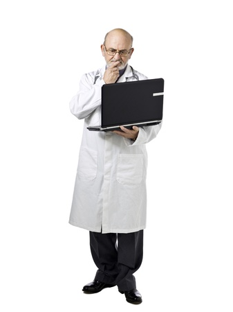 serious doctor: Illustration of serious doctor reading a result via laptop while biting his finger