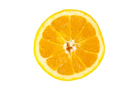 sourness: Close-up image of fresh lemon slice over the white background Stock Photo