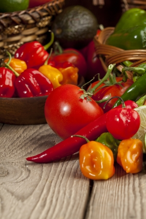 Cropped image of a set of mexican vegetables on top of a wooden table Stock Photo - 17148673