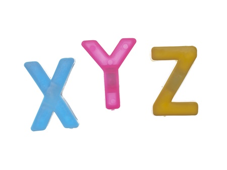 Close-up image of plastic alphabet letters XYZ on a white background Stock Photo - 17139914