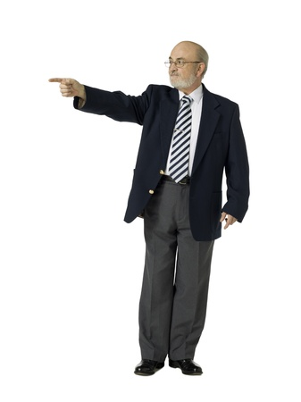 Old businessman pointing his right forefinger over a white background