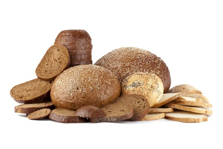 pumpernickel: Pumpernickel and rye bread set over a white background