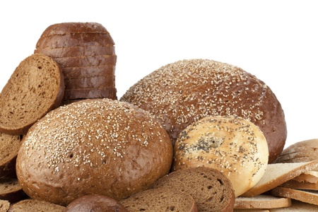 pumpernickel: Image of pumpernickel and rye breads against white background Stock Photo