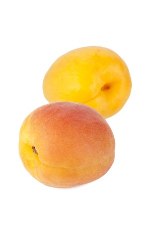 Close up image of two nectarine fruits against white background 版權商用圖片