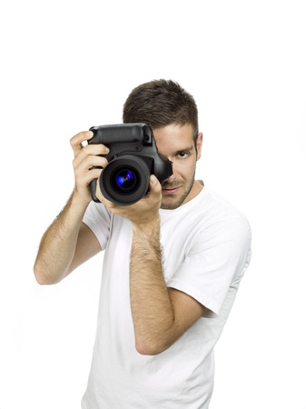 Photographer with a serious facial expression. Stock Photo - 17396236