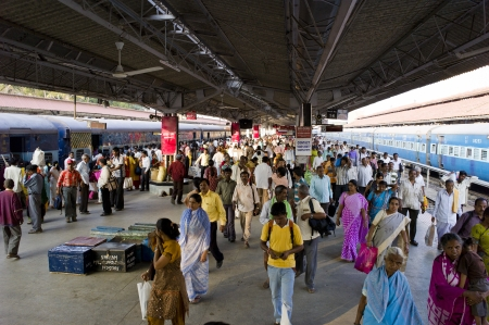 Trains arriving and departing in Mysore, India show the sheer volume of human traffic that exists.