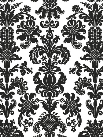 victorian wallpaper: Black and white seamless and floral wall paper