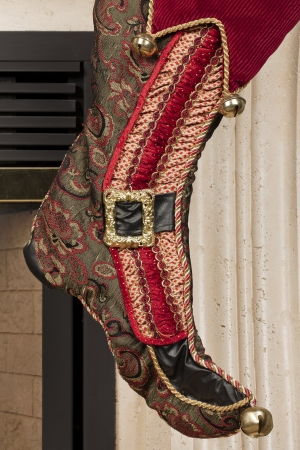 Close-up cropped view of Christmas stocking on wall. Stock Photo - 17150040