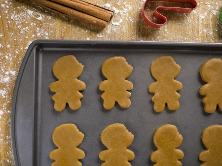 Detailed shot of uncooked gingerbread cookies arranged in tray. photo