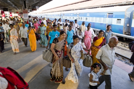 karnataka culture: On the platform at the train station in Mysore, India.