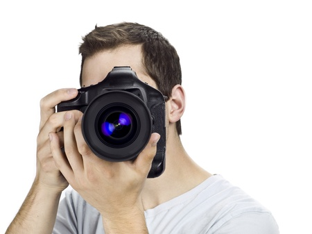 Guy taking picture. Stock Photo