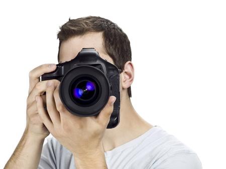 Guy taking picture. Standard-Bild