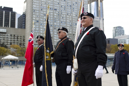 View of senior men standing in a row with flag on remembrance day.