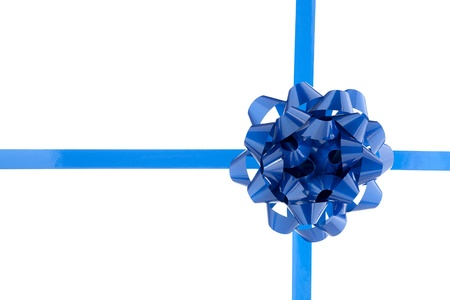 Blue bow over the white background Stock Photo - 17141228