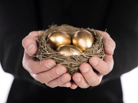 huevos de oro: Primer plano de un hombre de negocios la celebraci�n de nidos en las manos con los huevos de oro. Modelo: Winter Bourne