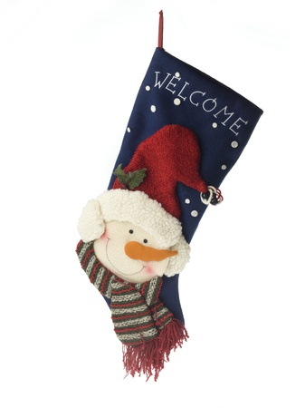 Close-up of christmas stocking displayed over white background. Stock Photo - 17141545
