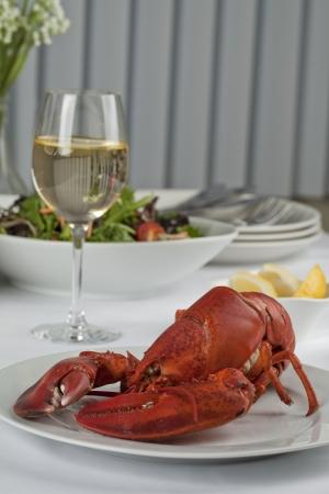 Image of dinner table with lobster and vegetable salad served with wine Stock Photo - 17143870