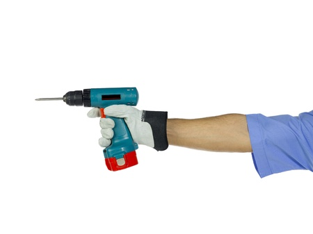 A worker holding a drilling tool used in construction job Stock Photo - 17141204