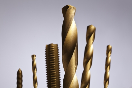 Image of Drill bit sizes isolated on a gray background Stock Photo - 17143310