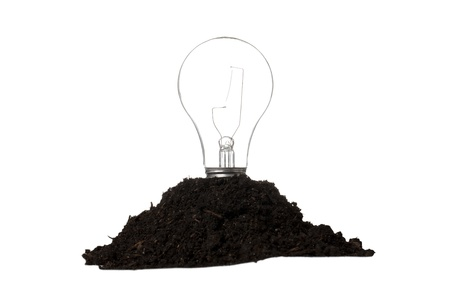 Close-up image of earth and light bulb isolated on a white background Stock Photo - 17140110