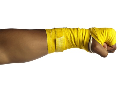 close fist: Close-up image of the fighters close fist isolated on a white surface Stock Photo