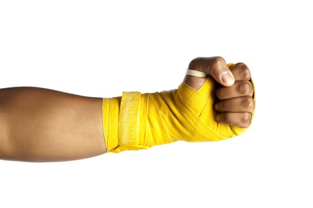 Close up image of fist of a  boxer against white background Stock Photo - 17142144