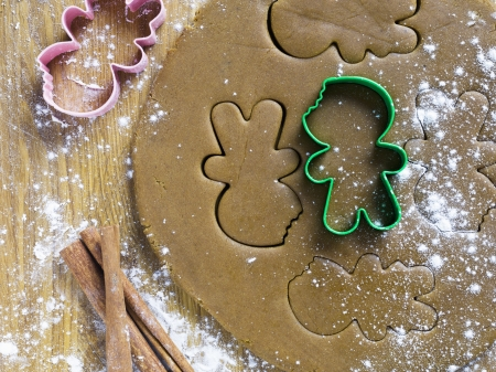 ginger bread man: Shape of ginger bread man on dough in a macro image