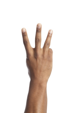 Close-up image of hand with a three sign over the white background Stock Photo - 17141556
