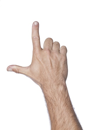 l hand: Close-up image of human hand gesturing letter L against the white background Stock Photo