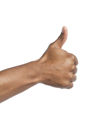 Close-up image of hand with thumbs up against the white background Stock Photo - 17141547