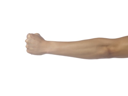 closed fist sign: Close up image of human arm with clenched fist against white background Stock Photo