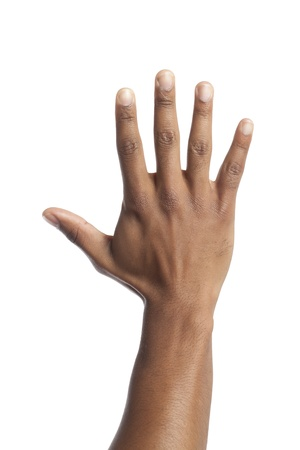 Close up image of human hand against white background Stock Photo - 17142402