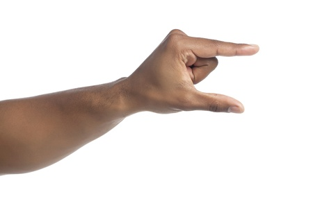 Close-up image of human hand in gesture of holding invisible object isolated on white Stock Photo - 17141259