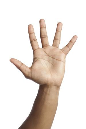 comunicacion no verbal: Imagen de primer plano de la mano humana con un máximo de cinco gesto contra el fondo blanco