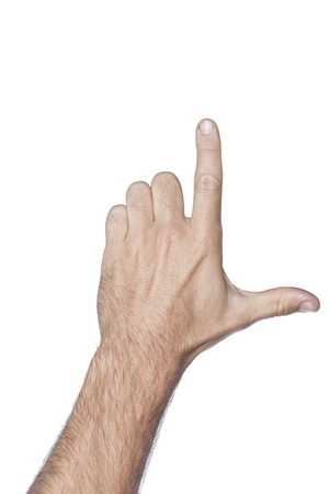 l hand: Close up image of human hand with letter L gesture against the white surface Stock Photo
