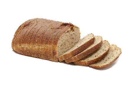 Image of cut loaf of bread against white background Stock Photo - 17142467