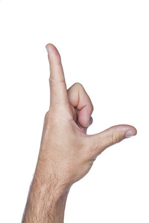 白い背景の上の人間の手ジェスチャー手紙 L 写真素材
