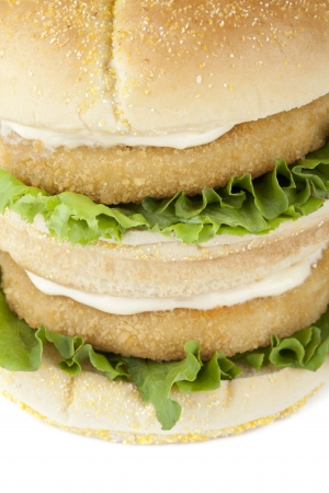 Macro image of crispy chicken burger with mayonnaise and lettuce leaf photo